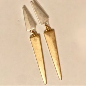Jewelry - Gold and Silver Linked Dangle Post Earrings